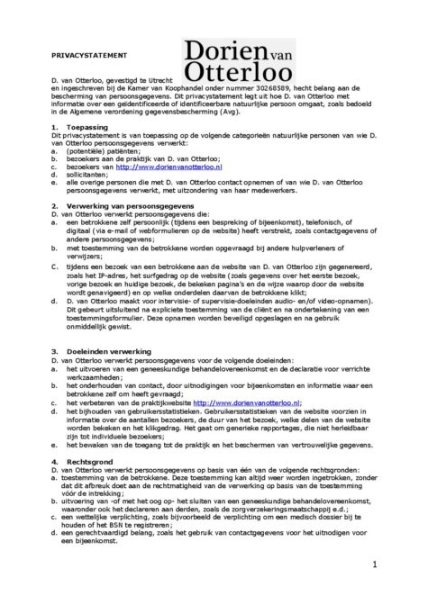 privacystatement AVG - Dorien van Otterloo